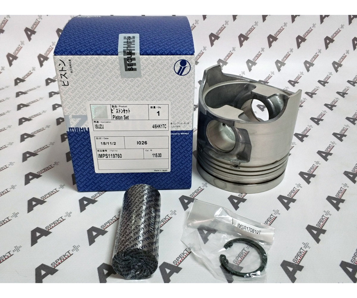 Piston set STD (piston, finger, stoppers) IZUMI IMPS119760 Isuzu 6HK1 1121119760 02/801165 02/800999
